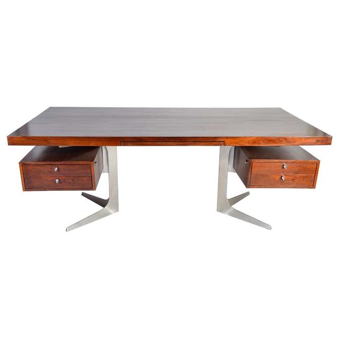 Herbert Hirche Minimalist \u2018Top Series\u2019 Executive Desk in Rosewood