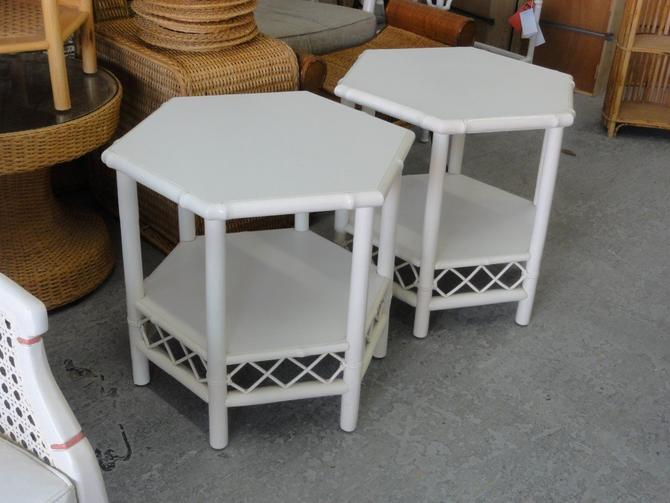 Ficks Reed Faux Bamboo & Rattan Side Tables