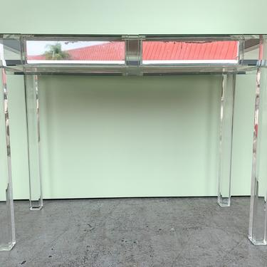Modern Mirrored Lucite Vanity and Stool