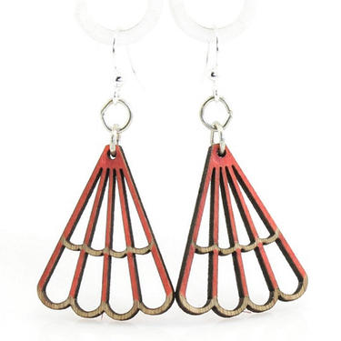 Triangle Blossoms - Wood Earrings - 132A by GreenTreeJewelry