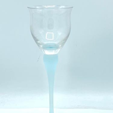 Vintage  1988 Mikasa Aqua Sea Mist Crystal Wine Glasses with Aqua Blue Frosted Stem by JoAnntiques