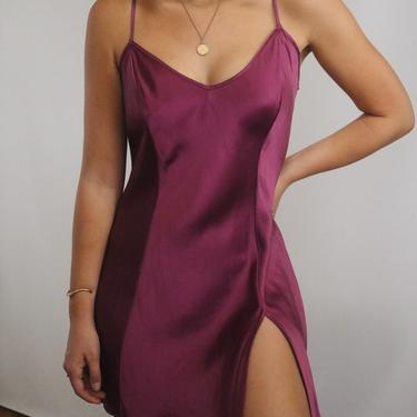 Vintage Berry Silk Victoria's Secret Slip Dress - Adjustable Straps V Open Back and Front Side Slit - S/M - Charmeuse Liquid Silk Slip Dress by LadyLVintageCo