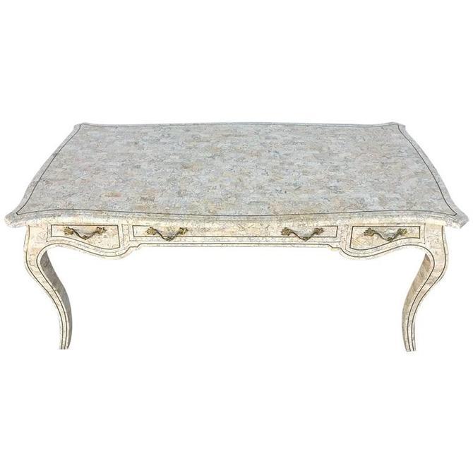 Midcentury Maitland Smith Brass Inlaid Tessellated Stone Desk