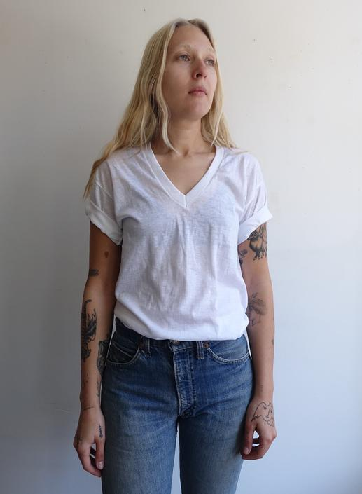 Vintage 80s Paper Thin White T Shirt/ 1980s Threadbare V Neck Plain 50 50/ Made in USA/ Deadstock/ Size M by bottleofbread