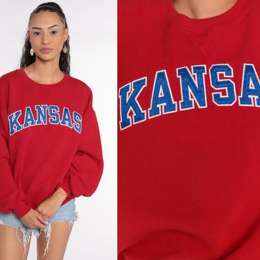Kansas Sweatshirt University Sweatshirt 90s Football KU City Graphic College Sweater Vintage Red Crewneck Medium Large by ShopExile