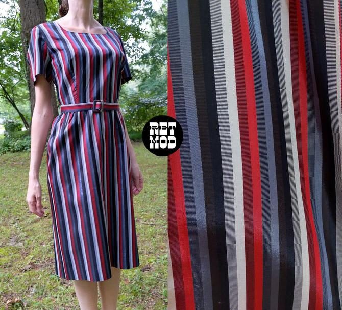 Classy Vintage 50s 60s Black Gray Red Stripe Taffeta Dress by RETMOD