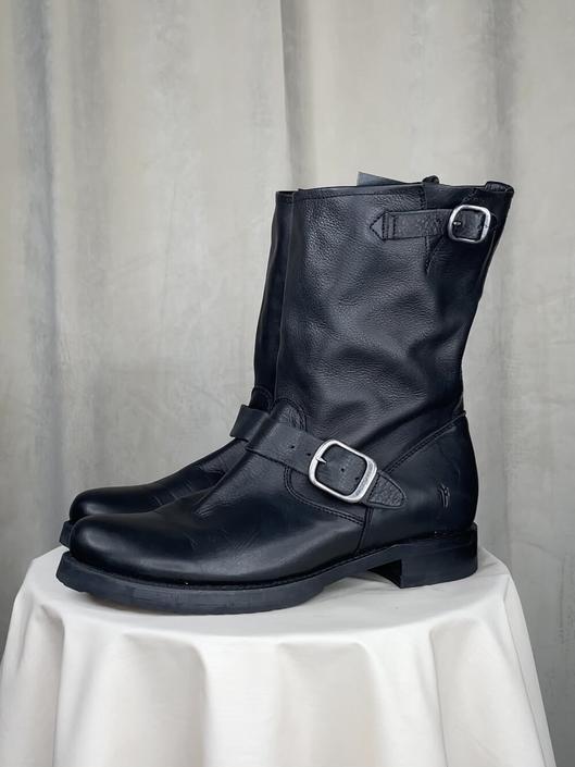 Vintage Black Frye Midcalf Buckle Boots