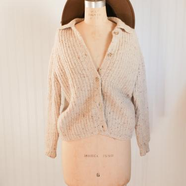 90s heathered beige cardigan - xs/s by foganddriftwood