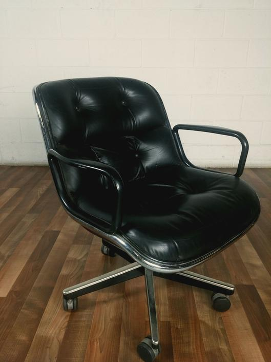 Immaculate Black Leather Pollock Knoll Desk Chair