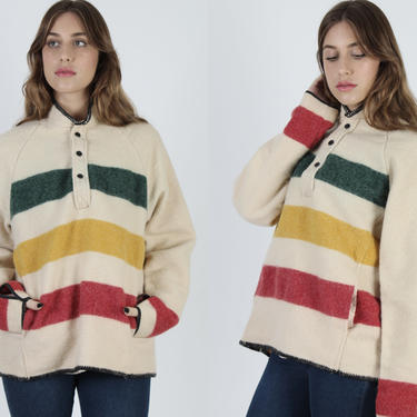 Mens Woolrich Striped Point Jacket / Red Green Yellow Woolrich Wool Coat / Vintage 80s Womens Blanket Capote Hunting Coat Large L by americanarchive