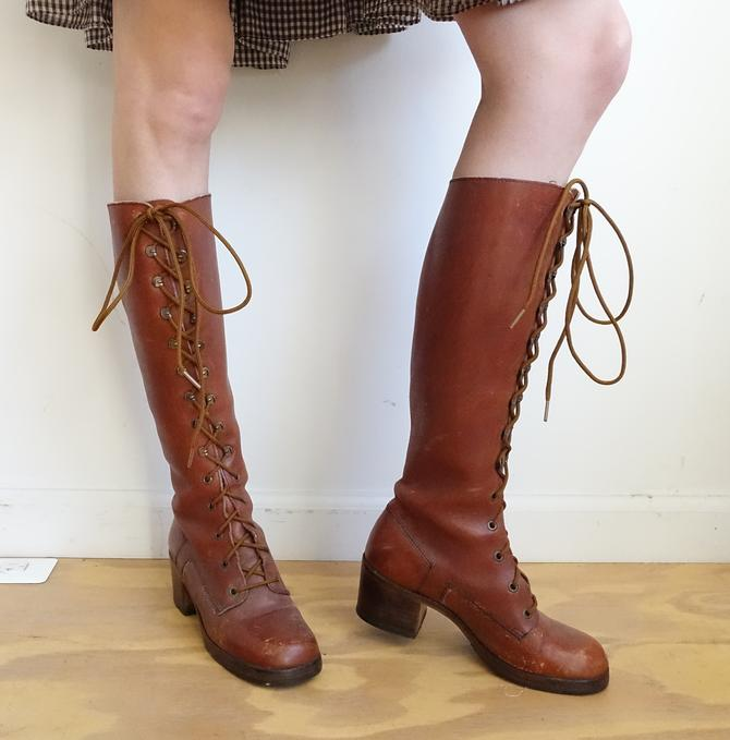 ba9146c27a0 Vintage 60s 70s Leather Lace Up Boots  1960s 1970s Tall Brown Riding ...
