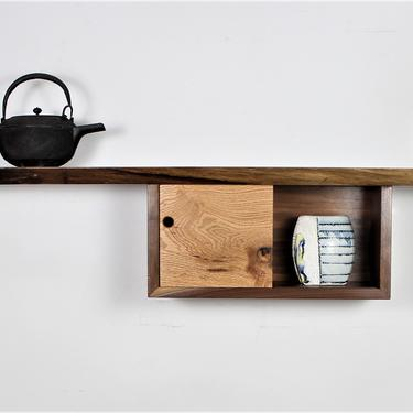 Free Shipping Prototype walnut and red oak live edge wall entry accent shelf with small cabinet In stock by GideonWoodworker