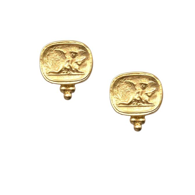 Cherub Gold Post Earring