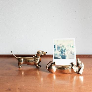 Brass Dachshund Doxie Dog Figurine / Hollywood regency / Brass Animal / MCM Home Decor by MicroscopeTelescope
