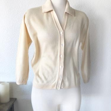 Ivory PURE Cashmere Ballantyne Sweater Cardigan, Scotland, 38 bust, Natural Wool 50's, 60's Vintage Sweater Blouse Top SCOTTISH by Boutique369
