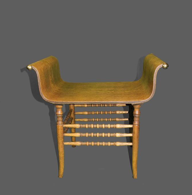 Vintage Oak Bentwood Quarter Sawn Bench w Curved Armrests Brass Finials by VintageLAfurniture