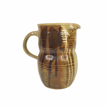 Vintage Brown Stoneware Drip Glaze Studio Pottery Pitcher, signed by Northforkvintageshop