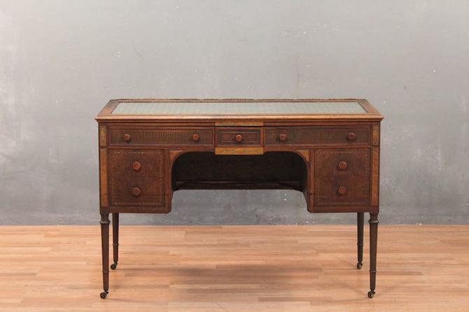 Art Deco Floral Glass-Top 7-Drawer Desk