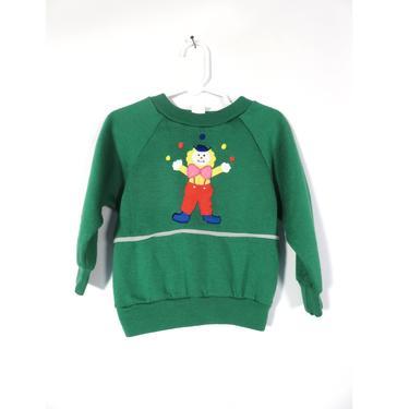 Vintage 80s Circus Clown Crew Neck Sweatshirt Size 24 M by VelvetCastleVintage