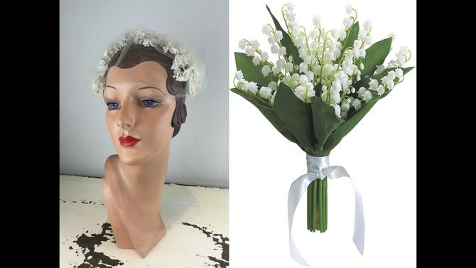 It Was To Be Her Day - Vintage 1950s Lily of the Valley Floral Half Hat Fascinator w/Birdcage Veil by RoadsLessTravelled2
