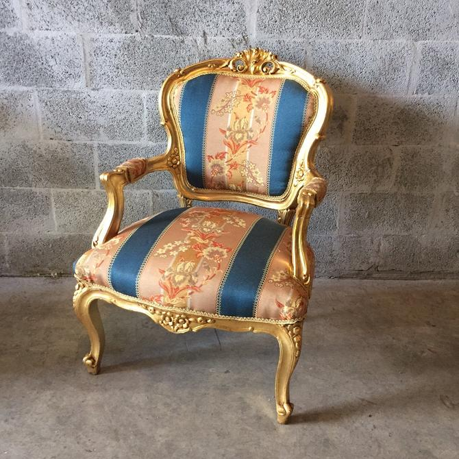 SOLD* French Gold Fauteuil Chair (2 Available) Peach Pink Blue Fabric refinished God leaf French Louis XVI Rococo Baroque Antique Arm-Chair by SittinPrettyByMyleen