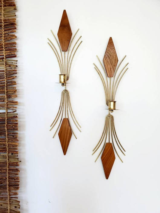 """Mid Century Modern Large Wood & Brass Wall Sconce Set 19"""" by pennyportland"""