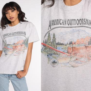 American Outdoorsman Shirt Nature Fishing Tshirt Mountain Shirt Graphic Tee 90s Vintage Grey 1990s T Shirt Large xl l by ShopExile