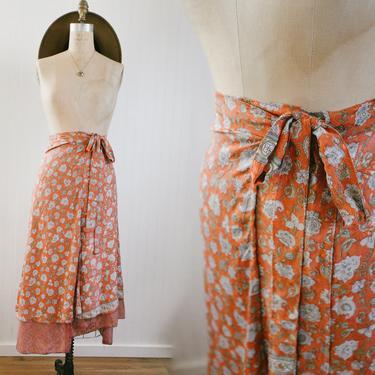 silk sari floral layered wrap skirt - osfm by foganddriftwood