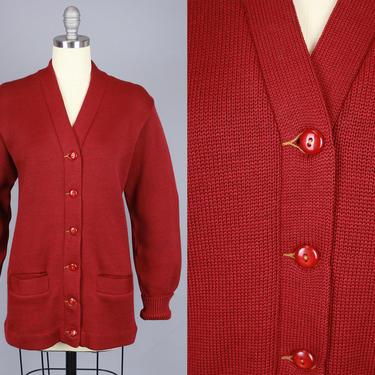 1940s Burgundy Red Cardigan   Vintage 40s Collegiate Wool Sweater   medium by RelicVintageSF
