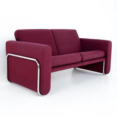 Milo Baughman Style Mid Century Cranberry Purple and Chrome Loveseat Setee Sofa - mcm by ModernHill