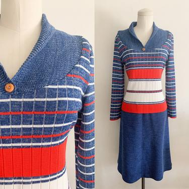 Vintage 1970s Red, Blue & White Striped Sweater Dress / M by MsTips