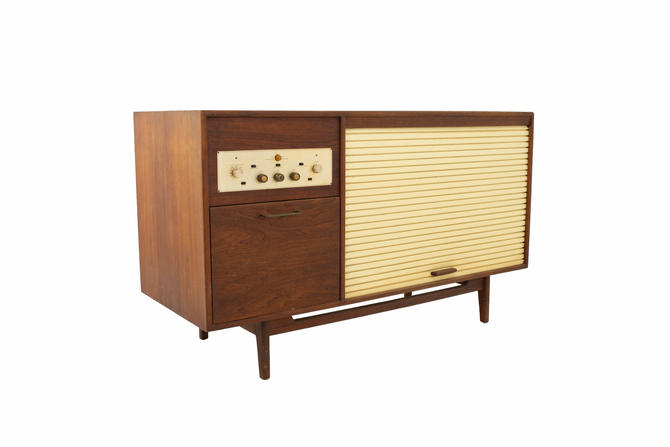 Jens Risom Mid Century Walnut Tambour Door Stereo Console Credenza - mcm by ModernHill