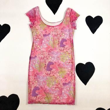 90s / y2k Pastel Pink Paisley Cap Sleeve Mini Dress / Wavy Hem / Cabbage Hem / Lettuce Hem / Large / Body Con / Internet / Paris / Cyber by badatpettingcats