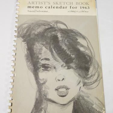 Vtg 1963 FRITZ WILLIS ARTIST'S SKETCH BOOK CALENDAR 12 Months PINUP ART Girls