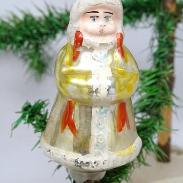 Antique Hand Painted Russian Mercury Glass Girl Christmas Ornament Clip, Vintage Feather Tree Decoration by exploremag