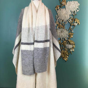 1970s blanket coat, vintage cape, scarf cape, Hilda Ltd, striped wool cape, bohemian coat, scarf coat, one size, 1970s cape, sweater coat by BlackLabelVintageWA