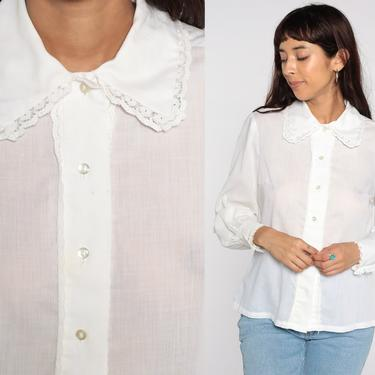 Sheer White Blouse 70s Blouse Cotton Top Lace Trim See Through Collar Boho Button Up Bohemian Vintage 1970s Shirt Long Sleeve Medium by ShopExile