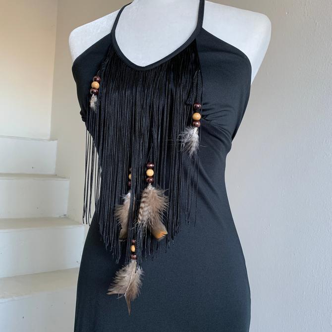 Studio 54 Black Fringed and Feather Disco Halter Dress 34 Bust Vintage Young Edwardian Arpeja by AmalgamatedShop