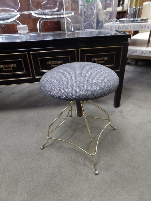 Vintage adjustable stool with brass base