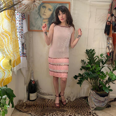 60's VELVET MINI DRESS - fringe - sequins - pink - small by GlamItToHell