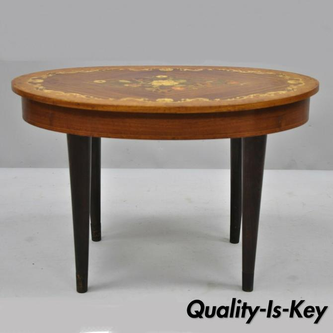 Vintage Italian Venetian Floral Satinwood Inlay Small Oval Sewing Side Table
