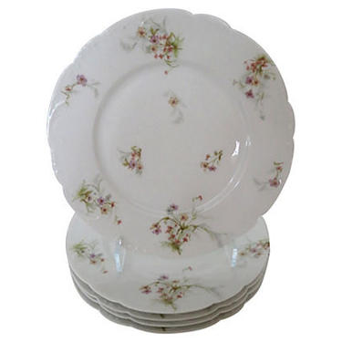 Antique Theo Haviland Dinner Plates, Antique Limoges Haviland Dinner Plates, S/5 - French Porcelain Plates by BostonVintageStudio