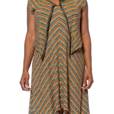 1980S Missoni Earth Tone Wool Blend Knit Dress With Matching Vest by SHOPMORPHEW