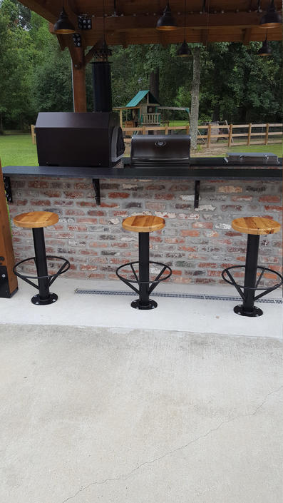 Free Shipping! Outdoor Urban Industrial Bolt Down Bar Stools with Circle Ring Foot Rest - Commercial grade for restaurants, bars and cafes! by BarnWoodFurniture