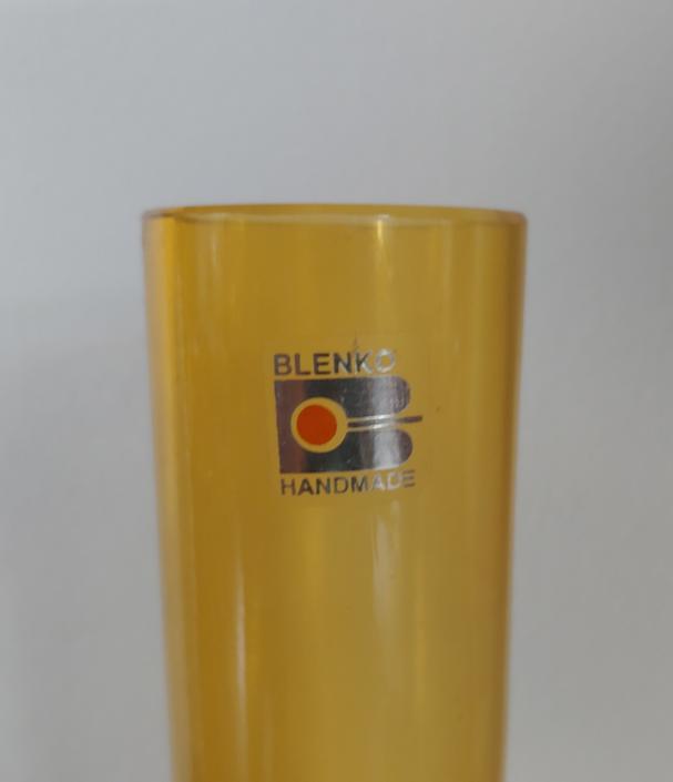 Vintage Blenko Handmade Amberina Glass Cylinder Vase by ModandOzzie