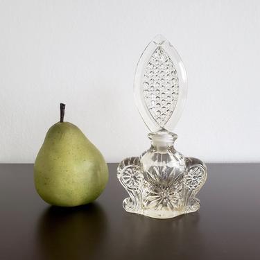 Vintage Art Deco Perfume Bottle, Antique Glass Apothecary Bottle, Large Ornate Stopper, Vanity Decor by CivilizedCrow