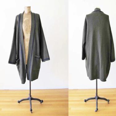 Vintage 90s Long Robe Cardigan Sweater M - Olive Green Wool Cardigan - Buttonless Robe Sweater - Kimono Cardigan - 90s Minimalist Clothing by MILKTEETHS