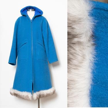1970s Parka Coat HOODED Wool Fox Long S by dejavintageboutique