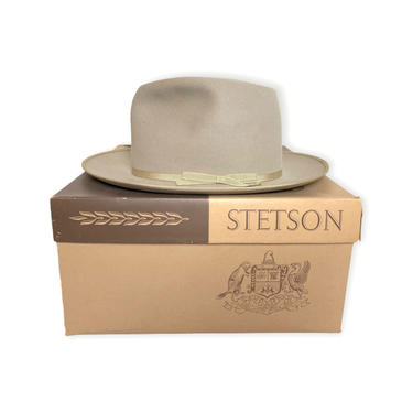 Vintage 1950s STETSON OPEN ROAD Fedora w/ Box ~ size 7 1/8 ~ Long Oval ~ 50s Western Hat ~ Bound Edge / Thin Ribbon ~ by SparrowsAndWolves