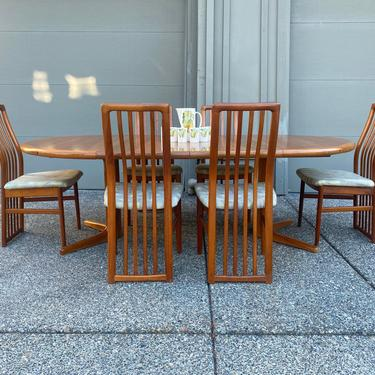 Vintage Mid Century Teak Dining Set Kai Kristiansen Chairs and D Scan Table by DesertCactusVintage